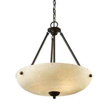 Norwich 4-Light Pendant in Aged Bronze with Amber Glass