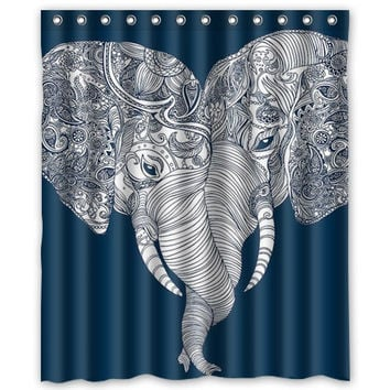 Punch Trunk Love, Elephant, Heart,Shower Curtain size option available