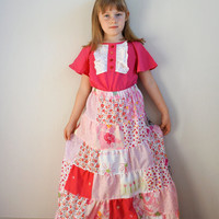 Girls Patchwork Skirt, Romantic Pink Skirt, Girls Maxi Skirt,Girls Ruffle Skirt, Toddlers Birthday Skirt, Handmade Skirt