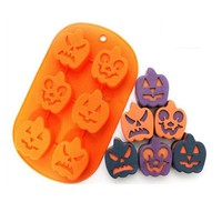 family baking cake pop molds 6 holes Halloween pumpkin face silicone bakeware chocolate silicone nonstick mold free shipping