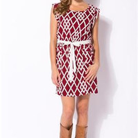 Game Day Lattice Patterned Wine Dress
