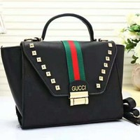 GUCCI Women Shopping Leather Handbag Tote Satchel Shoulder Bag Blue B-LLBPFSH