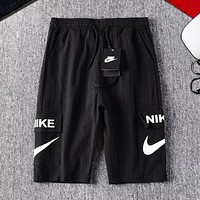 NIKE Fashion New Letter Hook Print Women Men Shorts Black