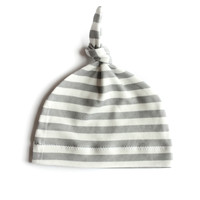 Organic Baby Knotted Hat in Gray Stripes
