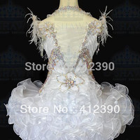 White Organza Feathers Above Knee Beading Crystals Cupcake Flower Girl Dresses Kids Pageant Dresses Infant toddler dresses