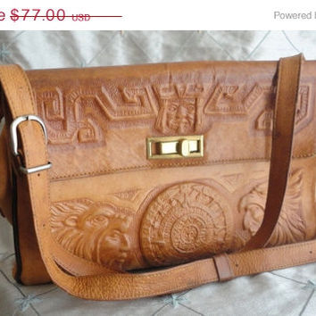 ON SALE Vintage Tooled Leather Mayan Themed Handbag Purse Made in Mexico by Mont Abur
