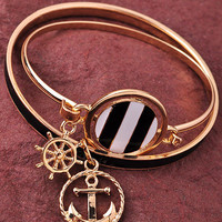 Anchor Charm Bangles - Black