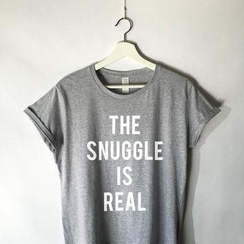 The Snuggle is Real Shirt in Grey for Women