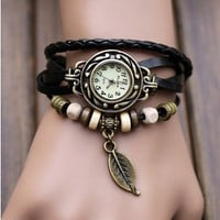6 Colors -leather wrap watch, leather band wrist watch, women wrist watches with vintage ,leaf, Leather watch bracelet
