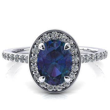 Valma Oval Alexandrite Floating Diamond Halo and Sides Ring