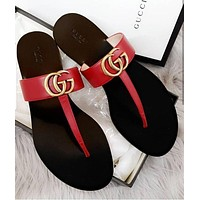 GUCCI GG Gold buckle letter outer wear flip flops flat bottom flip low heel beach sandals flip flops slippers-5