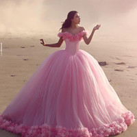 robe bal de promo Vintage Ball Gown Prom Dresses Fairy Tale Cap Sleeve Pink Party Dress Gowns for Women vestido de festa P10