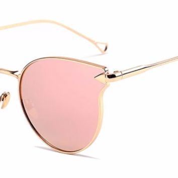 'Arrow' Cat-Eyed Shades - Gold/Pink