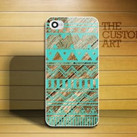 Mint Green Aztec over Wood Print - A003 iPhone 4 Case, iPhone 4s Case - Leave message for Black / iPhone 5 Case
