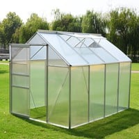 8.2x6.2Ft Greenhouse Aluminum Frame All Weather Walk-In Heavy Duty Polycarbonate