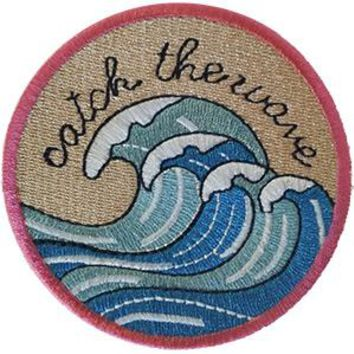 Surfing Iron-On Patch Round Catch The Wave