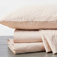 Blush Organic Crinkled Percale Sheet Sets by Coyuchi