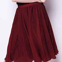 Burgundy High Waisted Skirt