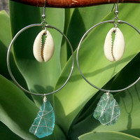 Seaglass Dangle Cowry Shell Hoop Earring, Blue Wire Wrapped Seaglass