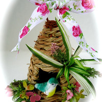 Decorative Birdhouse with Natural Material and Silk Floral Blooms in Pink