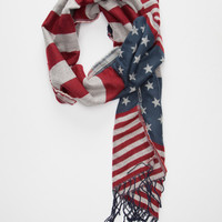 Americana Blanket Scarf Red/White/Blue One Size For Women 26410994801