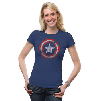 Captain America Logo Fitted Ladies' Tee - Navy,