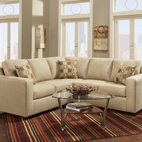 Roundhill Furniture Fabric Sectional Sofa with 3 Pillows, Vivid Beige