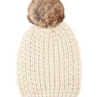 FOREVER 21 Faux Fur Pom Pom Beanie Cream One