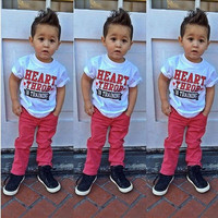 Boys clothes casual clothes Cartoon T-shirt + Red shorts baby boy clothing set 2015 summer boy children's clothing DS20