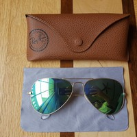 Cheap Ray-Ban Aviator RB3025 Gold + Green Flash Mirror #112/19 58mm + RB Case Medium outlet