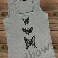 Women's Tank,Butterfly on a Tank Top Ladies Tank,Screen Printing Tank,Women's Tank,Gray Tank,Size S, M, L