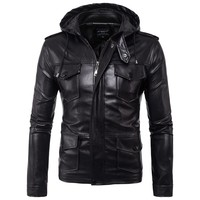 new 2018 Men hooded A leather jacket Fashion HOHO bag leather more M - 5XL