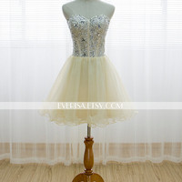 Handmade Sequins Sweetheart Short Prom Dress/ Formal Cocktail Dress/ Formal Party Dress/ Homecoming Dress /Sweet 16 Dress