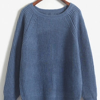 Solid Knitted Long Sleeve Pullover Sweater For Woman