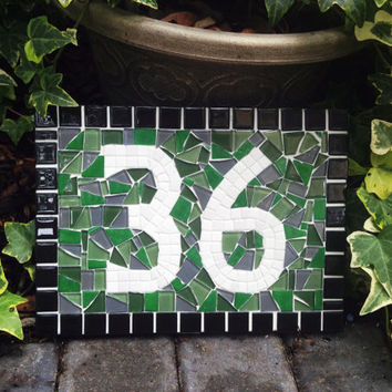 Address Sign, Green Gray, Mosaic House Number Plaque, Garden Decor