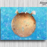 blowfish pixar poster finding dory art nautical watercolor nursery decor