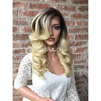 """Ombré Human Hair Blend Multi Parting Lace Front Wig 20"""""""