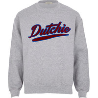 River Island MensGrey dutchie sweatshirt