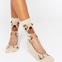 ASOS Pug With Sheer Belly Ankle Socks at asos.com