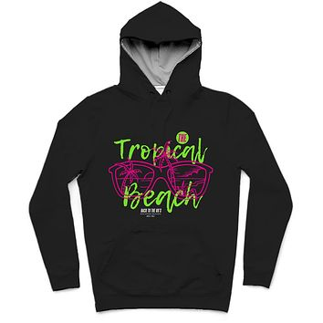 The Tropical Beach Trendy All-Over Print Solid Nero Hoodie