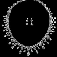 Drina Vintage Luxury Necklace Set | 80 Carat | Cubic Zirconia | Silver