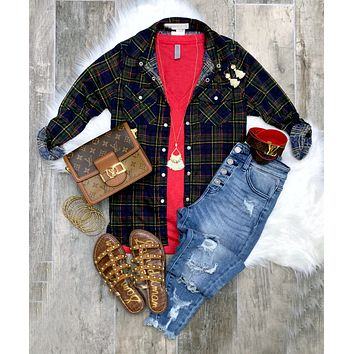 Penny Plaid Flannel Top - Navy/Yellow