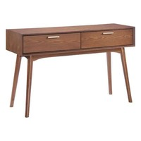 Design District Console Table Walnut Rubberwood