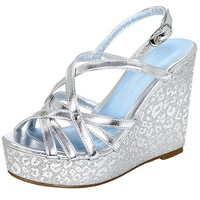 Metallic Cheetah Peep-Toe Platform Wedge Women's