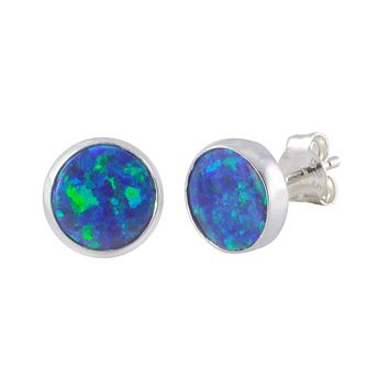Sterling Silver Navy Blue Green Opal Earring Studs 9mm Round
