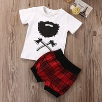 Newborn Baby Boys Clothes Set T-shirt Tops Short Sleeve Red Plaid Shorts Cotton Outfits 2pcs Clothing Set