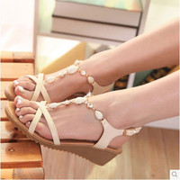 New Womens Open Toe Summer Bohemian Style White Beaded Mid Heel Wedge Sandals