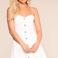 Ada White Button Skater Dress