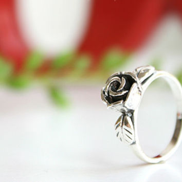 Rose Perforated Silver Ring Sterling Ring .925 Silver Ring Personalized Ring