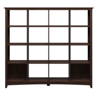 Four Shelf Bookcase With 16 Open Storage Cubes Office Furniture Cherry Finish